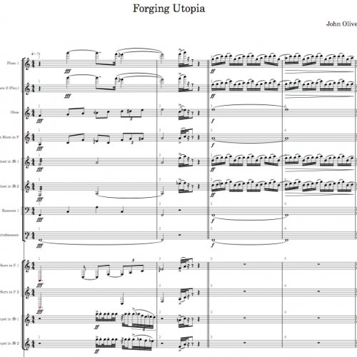 Forging Utopia first page of the score